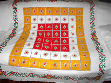 Vintage CHRISTMAS HOLIDAY Ornament Bell STARS  TABLECLOTH Kitchen Table 48 x 49