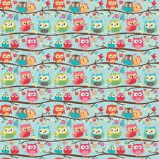 Happy Flappers Owl Blue by Kelly Panacci  for Riley Blake, 1/2 yd cotton fabric