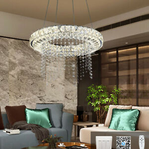 Luxury Clear Crystal Glass Round Shade LED Kitchen Ceiling Hanging Pendant Light