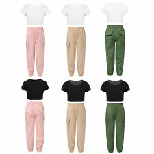 Kids Girls Stylish Outfits Crop Top+ Elastic Waistband Cargo Long Pants Clothes