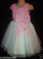 Light Pink Ivory Sparkly Flower Girl Bridesmaid Pageant Prom Party Dress 0m-13y