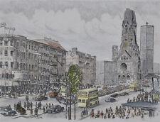 Alte Radierung von Berlin - belebter Platz mit Gedächtniskirche signiert Peters