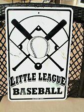 vintage LITTLE LEAGUE BASEBALL advertising METAL sign BAT BALL DIAMOND