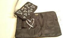 Victorias Secret LOVE Black and Gold Sequined Wristlet and Coin Purse 2 piece Se