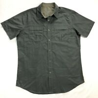 Kuhl Eluxur Ionik Mens Medium Gray Button Down Short Sleeve Shirt