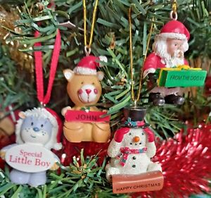 HANGING CHRISTMAS TREE DECORATION ORNAMENTS - NAMES / TITLES - VARIOUS DESIGNS