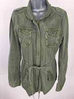 WOMENS NEXT GREEN COTTON ZIP UP LIGHTWEIGHT MILITARY STYLE TIE WAIST JACKET UK10