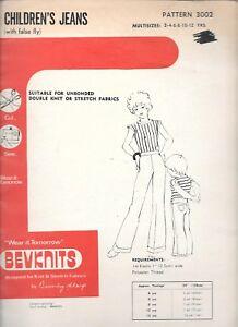 Vintage Bevknits 3002 sew pattern 2-12 yrs kids children's jeans false fly UNCUT