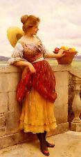 Oil painting eugene de blaas  young le plaisir pleasureh basket Hand painted