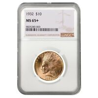 1932 $10 Indian Head Eagle Gold Coin NGC MS 65+