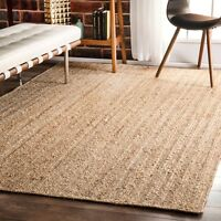 Natural Jute Rectangular Braided Rugs Reversible Boho Floor Area Mat Rug
