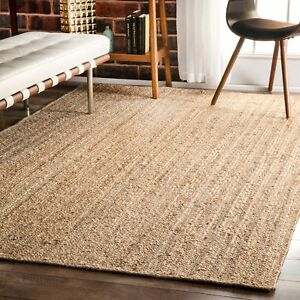 Natural Jute Floor Rag Braided Rectangular Rug Reversible Boho  Area Mat Rug