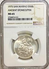 1975 MS65 San Marino Silver 500 Lire Ancient Stonecutter NGC KM# 48