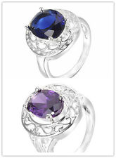 NEW Jewelry Men/Women 925 Sterling Silver Plated Amethyst CZ Fashion Size 8 Ring