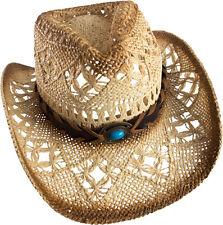 Cowboy Hat Straw Hat Cowboy Hat Beige/Brown with Wide Hatband and Gemstone