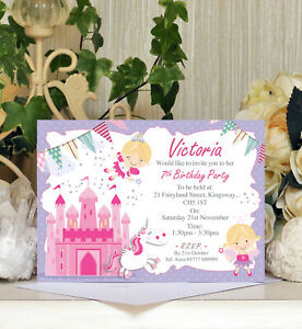 Personalised Fairy Princess Themed Party Birthday Invitations Kids Childrens