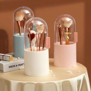 Makeup Brush Holder Organizer Storage Box Display Case Lid Dustproof With Pearl