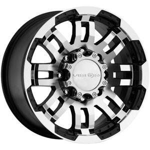 "Vision 375 Warrior Trailer 16x6 8x6.5"" +0mm Black/Machined Wheel Rim 16"" Inch"
