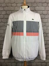 LACOSTE MENS UK M FR 4 WHITE STRIPED LONG SLEEVED TRACK TOP DESIGNER CASUAL
