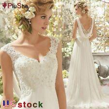 Plus Size Women Sleeveless Lace Chiffon Trailing Beach Wedding Dresses US 6-26W