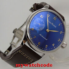 44mm parnis blue dial 6497 movement deployment calsp hand winding mens watch 395
