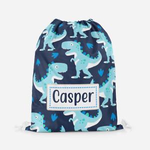 Personalised Custom Blue Dinosaur Boys Kids Drawstring PE Swimming School Bag