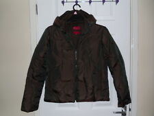 Firetrap Coat. Removeable Hood. Feather Lined. Green/Brown Sheen. Size M Medium