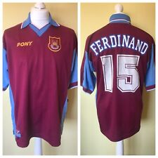 West Ham 1997-98 Home Shirt RIO FERDINAND #15 Size L PONY Manchester United
