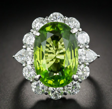Large Vibrant Apple Green Peridot 21ct Enagement Ring 925 Sterling Silver