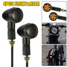 4Pcs Retro Black Motorcycle Turn Signal Indicator Bullet Blinkers Lights Amber