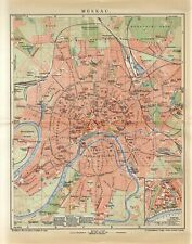1904 RUSSIA MOSCOW CITY PLAN KREMLIN Antique Map dated