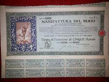 MANIFATTURA DEL SERIO  Certificato per 5 Az. 1909