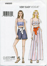 Vogue Ladies Easy Sewing Pattern 9258 Sleeveless Tops /& Pull On Pants