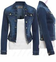 Womens Size 14 16 18 20 Stretch Denim Jacket Ladies Indigo Jean Jackets Blue