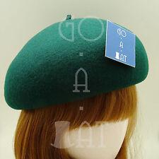 VINTAGE Wool Felt Women Pillbox Hat Ladies Soft Beret Crown | 56cm | Black Brown