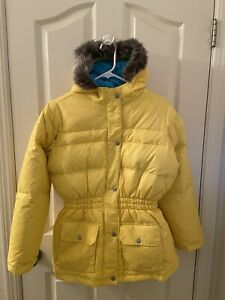 Hanna Andersson Down Puffer Jacket Faux Fur Trim Hood Yellow Size 160 US 14-16