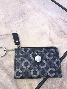 Coach ID Wallet Coin Key Chain Card Holder Mini Grey And Black C