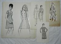 Lot of 4 Vintage Fashion Design Drawings / Sketches, Women's Clothing