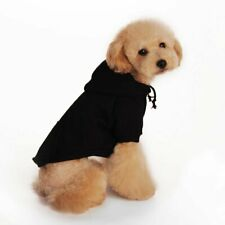 Winter Cotton Warm Black Casual Coat with Hoodie for Puppies/Dogs Fleece Jumper