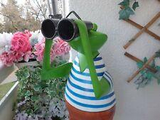 Frosch Garten-Frosch mit Fernglas 78cm Spanner Metall Gartenfigur Tierfigur