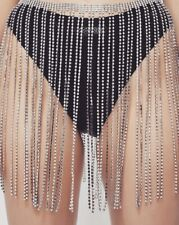 Rhinestone Diamond Fringe Belt Skirt