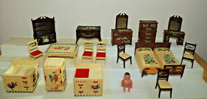 Vintage Early Renwal Bedroom Kitchen Lot With Art Work Doll House Furniture
