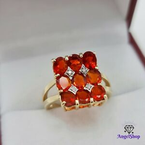 9ct Gold Ring Natural Fire Opal & Diamond Size M - 6.5