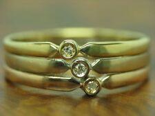 14kt 585 TRICOLORE ORO ANELLO con guarnizione in diamante/3,2g/RG 56