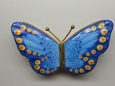 Rare Authentic Limoges Trinket Double-Sided Box - France - Pv - Blue Butterfly