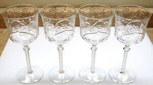 4 ELEGANT ANTIQUE Deep Clear Cut Etched Wine Water Goblets Glasses Wedding Party