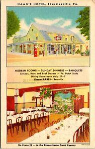 Linen Postcard Haag's Hotel in Shartlesville, Pennsylvania~3833