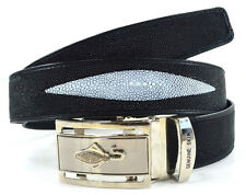 3 EYEs SKIN GENUINE STINGRAY LEATHER MEN'S BELT BLACK SIZE 36 NEW