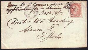 CANADA 1870 3c sg 79 used on envelope 11  Fredericton NB 21 Nov 1872*