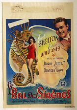 """AFFICHE ancienne de CINEMA """"BELGE"""" : LE BAL DES SIRENES 1944"""